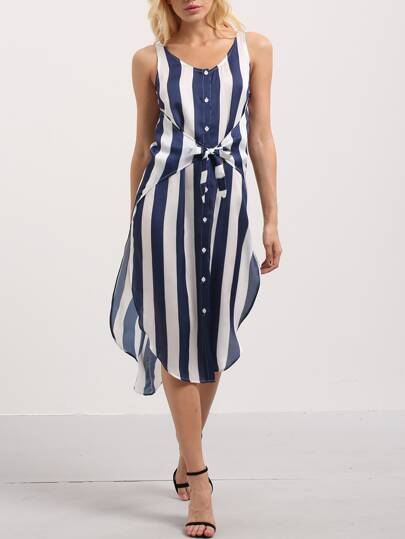 Multicolor Striped Sleeveless Split Side Bottons Dress