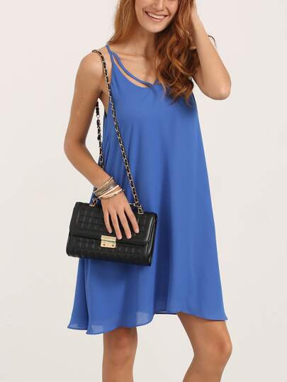 Blue Spaghetti Strap Asymmetrical Shift Dress