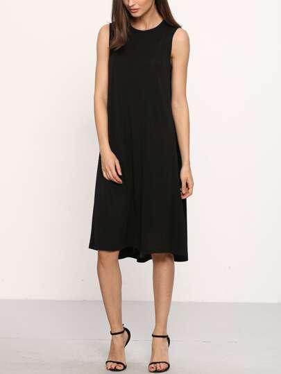 Black Sleeveless Shift Dress