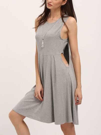 Grey Layered Back Sleeveless Swing Dress