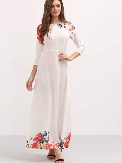 Vestito Lungo Stampa Fiore Maniche A 3/4 - Bianco