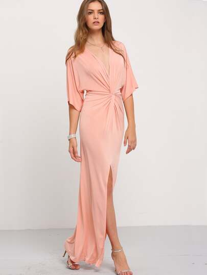 robe longue fendue demi-manche - rose