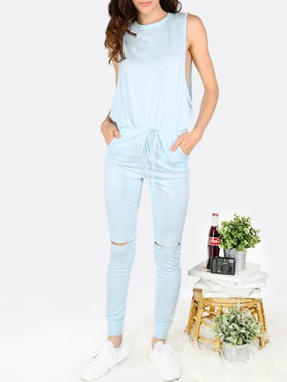 Light Blue Self-tie Waist Pockets Jumpsuit
