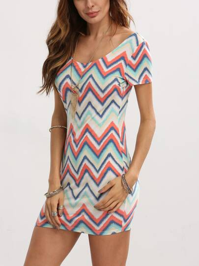 Multicolor Zigzag Print Bodycon Dress