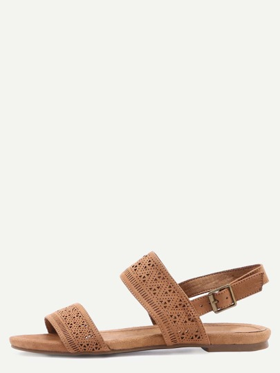 Faux Suede Stappy Sandals - Camel