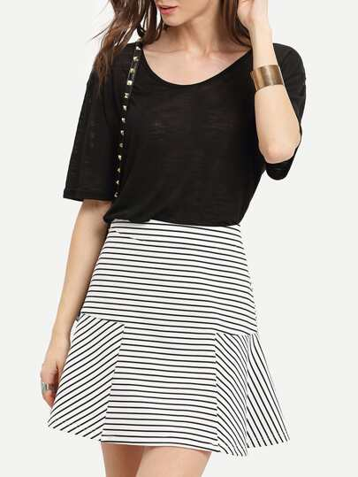 Black White Stripe Skirt