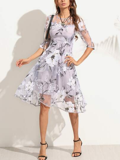 Flower Print Sheer Organza A-Line Dress