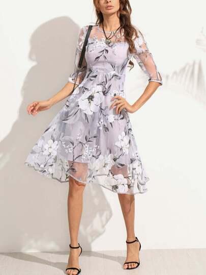 A-Linie Sheer Kleid mit Blumenmuster