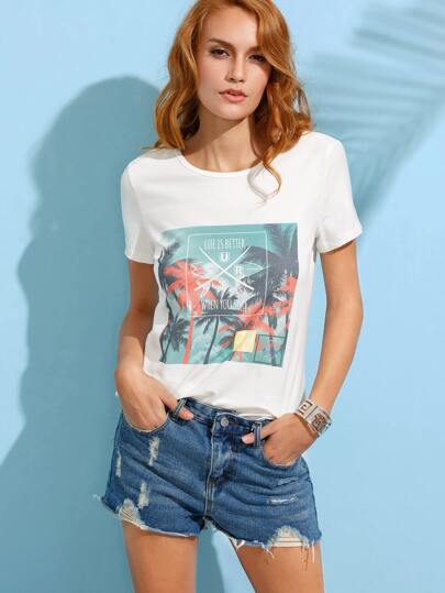 Coconut Tree Print White T-shirt