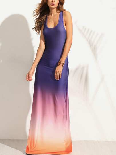 فستان ماكسي ملون بتدرجات بلا اكمام