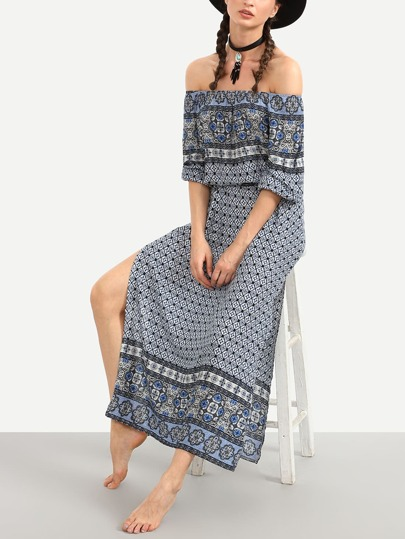 Blue Tribal Print Off The Shoulder Slit Dress