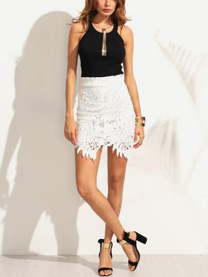 White Asymmetric Crochet Overlay Bodycon Skirt