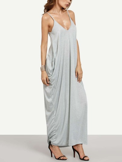 Grey Spaghetti Strap Plain Maxi Dress