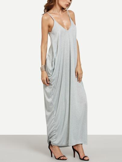 Grey Spaghetti Strap Plain Maxi Dress