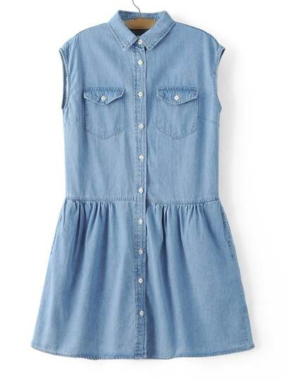Blue Sleeveless Lapel Pocket Denim Dress