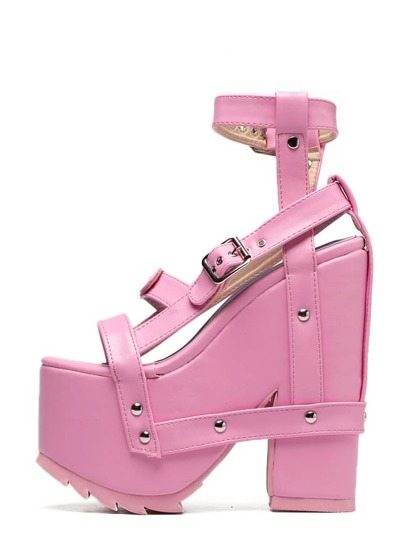 Sandalias tiras plataforma tacón grueso - rosa