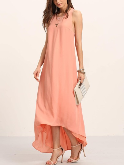 Pink Princess Seam Dip Hem Knotted Back Dress