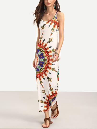 Multicolor Print Spaghetti Strap Crisscross Dress