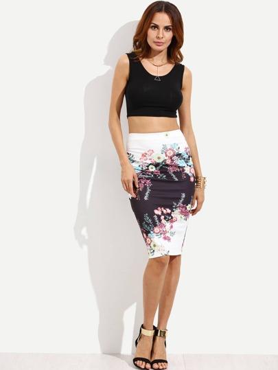 Multicolor Print Knee Length Skirt