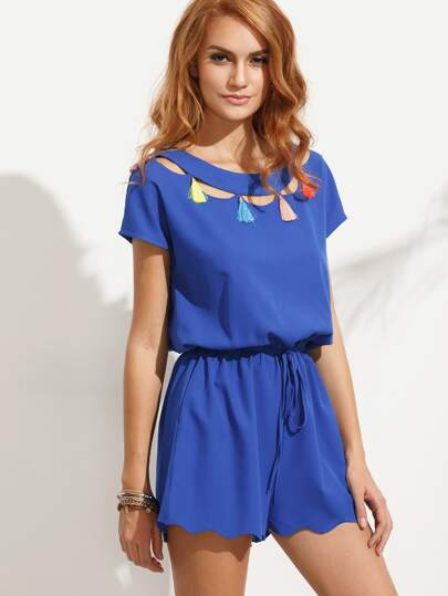 Royal Blue Tie Waist Tassel Cutout Scallop Hem Jumpsuit
