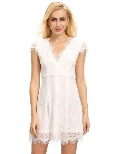 Cream Cap Sleeve Lace Dress
