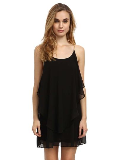 Black Slip Spaghetti Strap Wrinkle Ruffle Dress