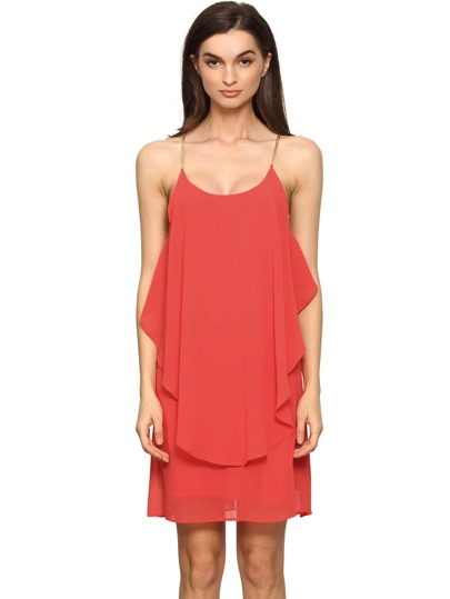 Red Slip Spaghetti Strap Wrinkle Ruffle Dress