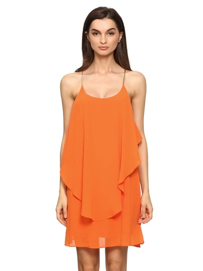 Orange Slip Spaghetti Strap Wrinkle Ruffle Dress