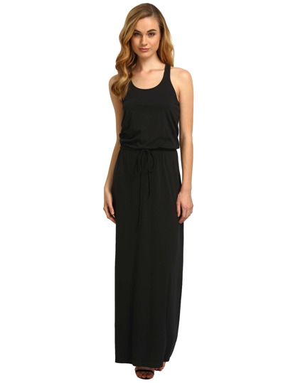 Black Self-tie Waist Sleeveless Maxi Dress
