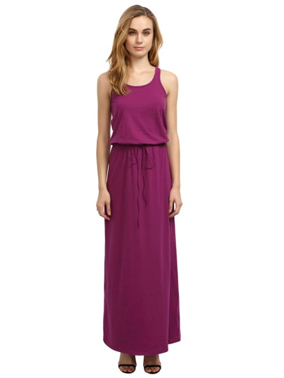Grey Purple Self-tie Waist Sleeveless Maxi Dress