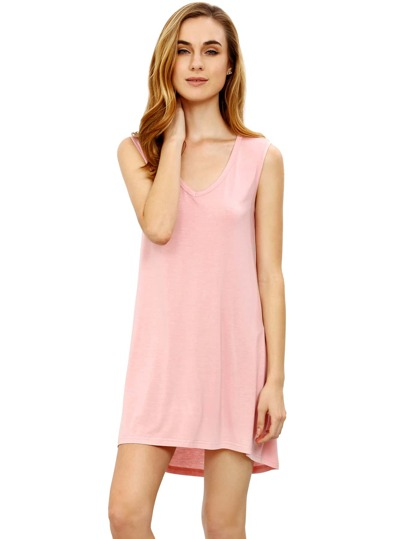 Pink Minis Sleeveless Vest Casual Dress