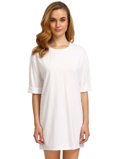 White Round Neck Inch Half Sleeve Loose Dress