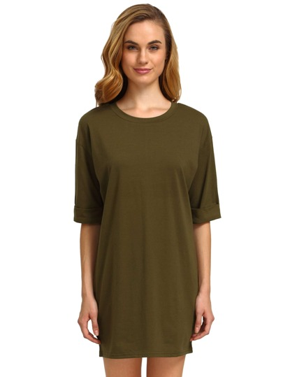 Army Green Round Neck Inch Half Sleeve Loose Dress