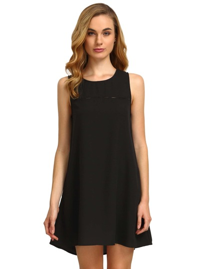 Hollow Out Buttoned Keyhole Back Swing Dress With Pockets