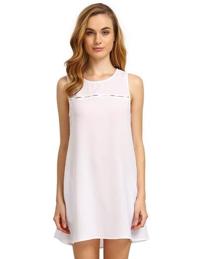 White Concert Sleeveless Pockets Casual Dress