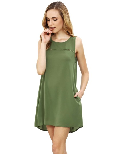Army Green Concert Sleeveless Pockets Casual Dress