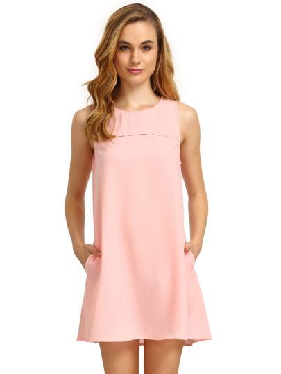 Vestito in chiffon senza maniche - rosa