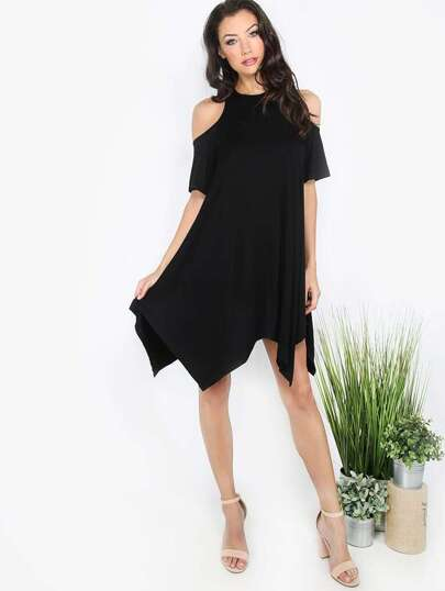 Black Cut-out Sleeve Casual Shift Dress