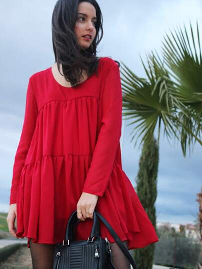 Red V Neck Long Sleeve Pleated Dress