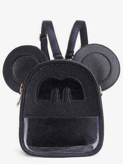 Black Cutout Front Clear Backpack With Mouse Ears
