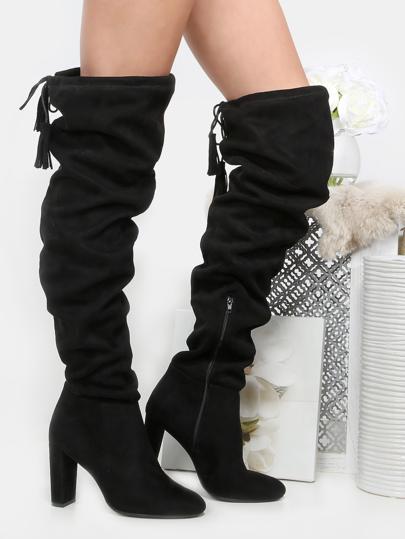 Tassel Tie Thigh High Boots BLACK