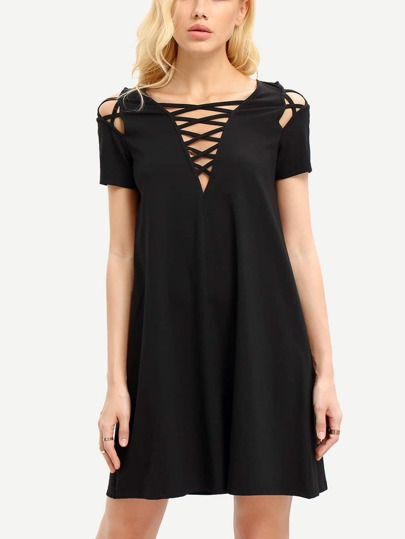Black Lace Up Short Sleeve Shift Dress