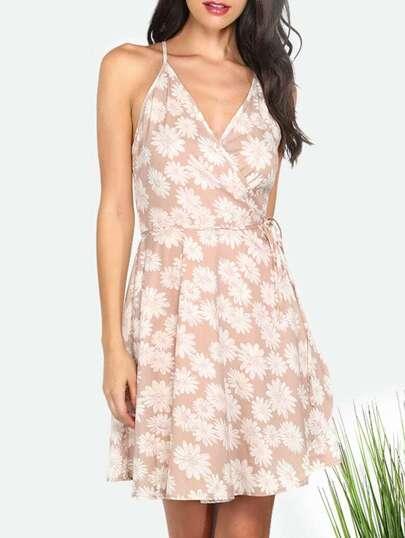 Multicolor Flower Print Tie Waist Dress