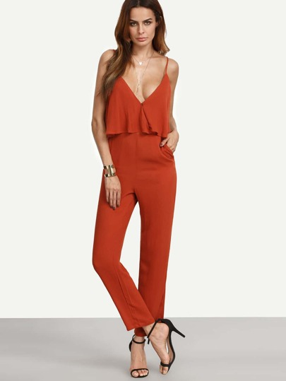 Deep V Cut Frill Jumpsuit