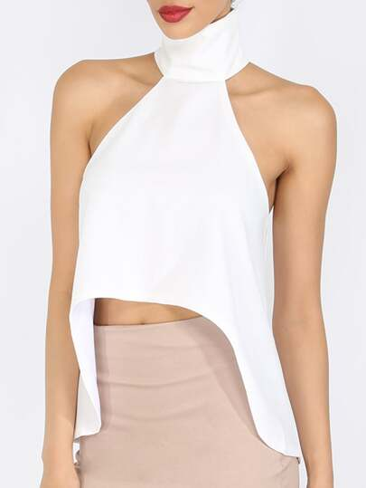 White Cut Away High Neck Dip Hem Top