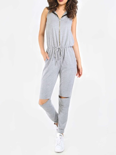 Grey Hooded Zipper Front Destroyed Knee Jumpsuit