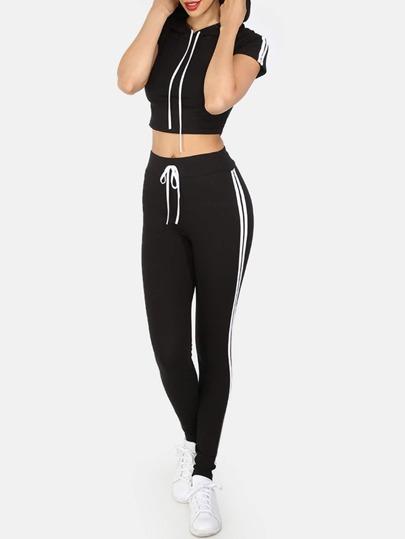 Pantalon taille lacets manche courte - Noir