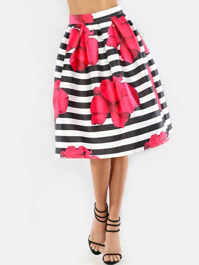 Floral Print Striped Pleated Flare Skirt