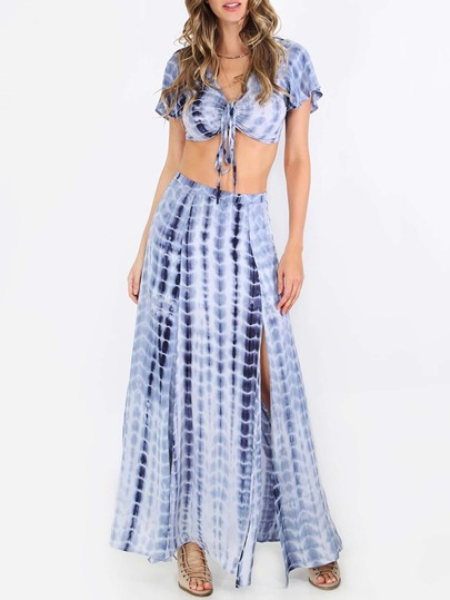 Multicolor Ikat Print Split Maxi Skirt