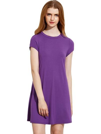 Púrpura manga corta camisa corte vestido de swing
